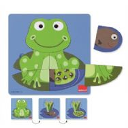 Goula 3 Level Wooden Jigsaw Puzzle - Frog